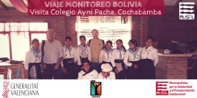 Viaje Monitoreo Fundación MUSOL en Bolivia. Visita Colegio Ayni Pacha, Cochabamba.